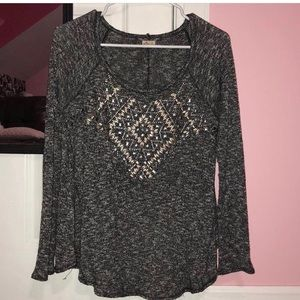 Hollister gray long sleeve with embellishments